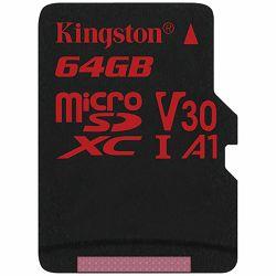 KINGSTON 64GB microSDHC Canvas React 100/80 U3 UHS-I V30 A1 Single Pack w/o Adp