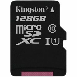 KINGSTON 128GB microSDXC Canvas Select 80R CL10 UHS-I Single Pack w/o Adapter