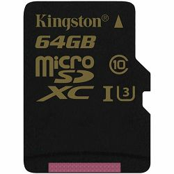 KINGSTON 64GB microSDXC Canvas Select 80R CL10 UHS-I Single Pack w/o Adapter