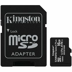 Memorijska kartica Kingston 16GB micSDHC Canvas Select Plus 100R A1 C10 Card + ADP EAN: 740617297300