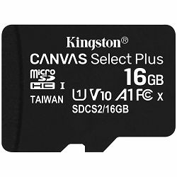 Memorijska kartica Kingston 16GB micSDHC Canvas Select Plus 100R A1 C10 Single Pack w/o ADP EAN: 740617298635