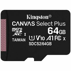 Kingston 64GB micSDXC Canvas Select Plus 100R A1 C10 Single Pack w/o ADP EAN: 740617298963