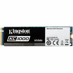 Kingston SSD 240GB KC1000 PCIe Gen3 x 4, NVMe (M.2 2280), EAN: 740617264951