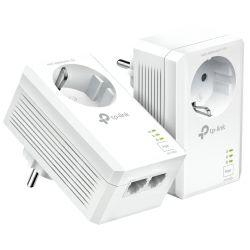 TP-Link AV1000 Powerline Gigabit mrežni adapter, 1000Mbps, dodatna strujna utičnica, 2×G-LAN, HomePlug AV2 (duplo pakiranje)