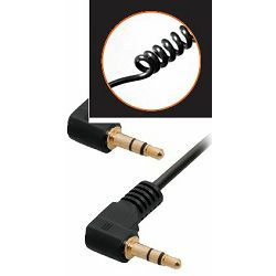Transmedia connecting cable. 3,5 mm stereo plug right angle - 3,5 mm stereo plug right angle 1,6m