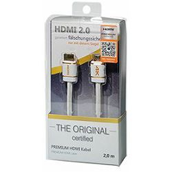 Transmedia HDMI Premium Certified Cable 1,5m white nylon braided blister packaging