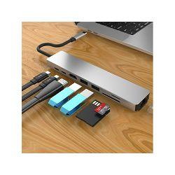 USB-C adapter NEON Multi-Port 4K, USB Type-C na 2x USB 3.0, USB Type-C, Thunderbolt 3, RJ45 (LAN), HDMI, card reader - N61974