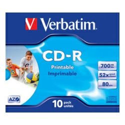 CD-R Verbatim 700MB 52× DataLife+ Wide PRINTABLE 10 pack JC