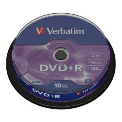 DVD+R Verbatim 4.7GB 16× Matt Silver 10pack spindle