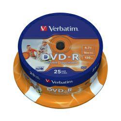 DVD-R Verbatim 4.7GB 16× Wide PhotoPRINTABLE 25 pack spindle