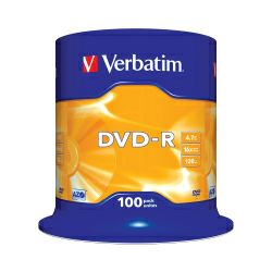 DVD-R Verbatim 4.7GB 16× Matt Silver 100pack spindle