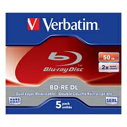 Blu-Ray Verbatim BD-RE DL 2× 50GB White Blue Surface Hard Coat 5 pack JC (Double Layer)