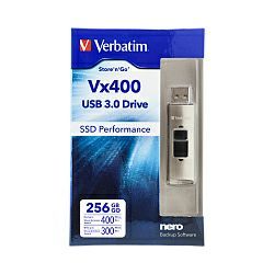USB Stick Verbatim Vx400 StorenGo 256GB USB3.0, SSD performance (R/W: 400/300MB/s)