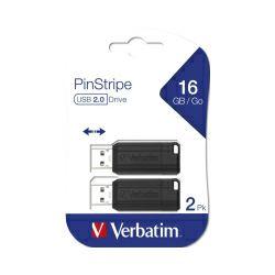 Verbatim USB2.0 PinStripe 16GB, crni (pakiranje 2 kom.)