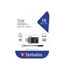 Verbatim USB2.0 & microUSB StorenGo Dual OTG 16GB, crni
