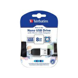 Verbatim USB2.0 Nano StorenStay 8GB + microUSB adapter, crni