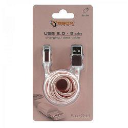 Kabel SBOX USB->iPh.7 M/M 1,5M zlatno roza, 2kom