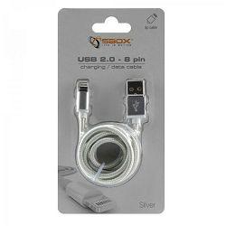 Kabel SBOX USB->iPh.7 M/M 1,5M srebrni, 2kom