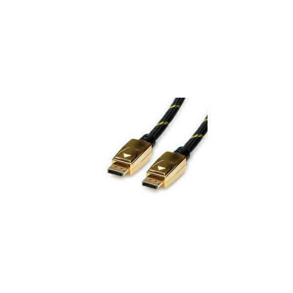 Roline GOLD DisplayPort kabel v1.4, DP-DP M/M, 3.0m, crno/zlatni