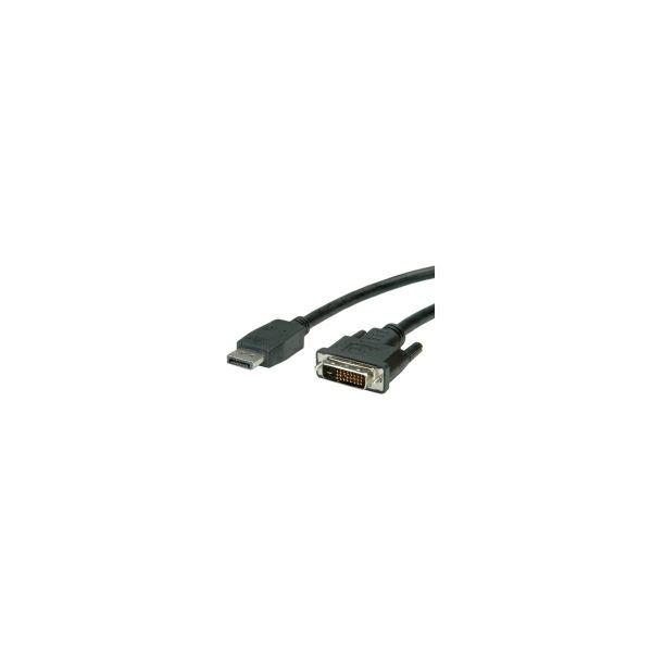 Roline VALUE DisplayPort kabel, DP M na DVI-D (24+1) M, 1.0m