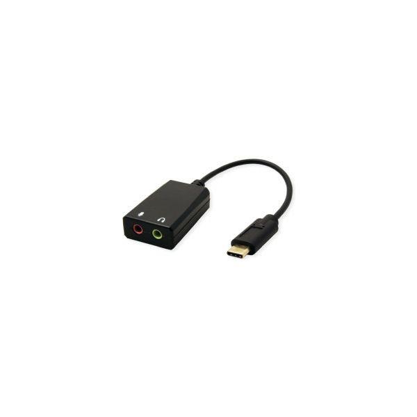 Roline VALUE adapter USB-C - 2×3.5mm audio, M/F, 0.13 m