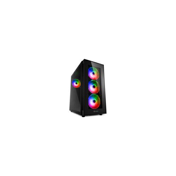 Sharkoon TG5 PRO RGB Midi Tower ATX kućište, bez napajanja, prozirna prednja/bočna stranica, prednji/stražnji ventilatori 4×120mm, crno