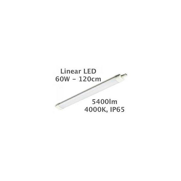 EcoVision LED Linijska Tri-Proof Cortez - 60W 5400lm, 4000K, 1200x82x48mm, IP65