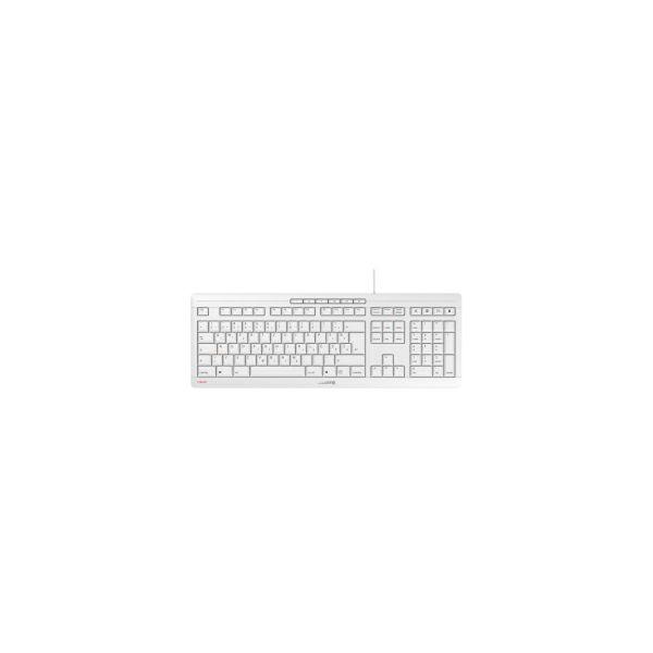 Cherry Stream Ultra tiha vodootporna tipkovnica, USB, bijelo/siva