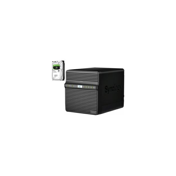 Synology DS420j DiskStation 4-bay NAS server + 4× Seagate Guardian 8TB HDD (ST8000DM004)