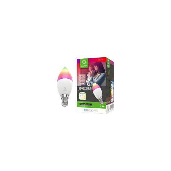 WOOX WiFi Smart LED RGB+CCT žarulja E14, 5W, 470lm, 2700K-6500K dimabilna, WooxHome app, glasovna kontrola - Alexa & Google Assistant (R9075)