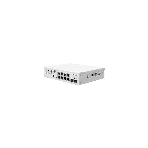 Mikrotik Cloud Smart Switch CSS610-8G-2S+IN, 8×G-LAN, 2×SFP+ cages, SwOS, desktop kučište, PSU