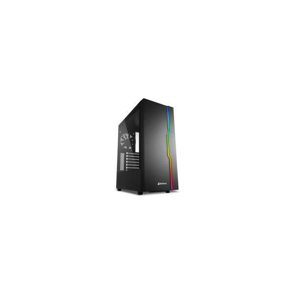 Kućište Sharkoon RGB SLIDER Midi Tower ATX , prozirna bočna stranica, stražnji ventilator 120mmi, bez napajanja, crno