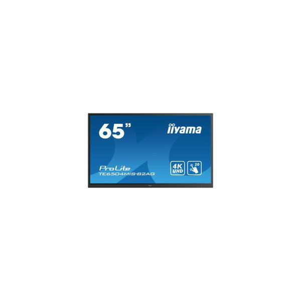 Monitor IIYAMA ProLite TE6504MIS-B2AG 16:9 4K UHD (3840×2160) IPS LED, 24/7, Interaktivni 20pt IR Touchscreen, 8ms, VGA/HDMI×3/USB-C, RS232/RJ45×2, USB3.0×4, iiWare9.0 (Android OS), zvučnici, crni