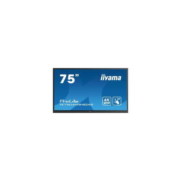 Monitor IIYAMA ProLite TE7504MIS-B2AG 16:9 4K UHD (3840×2160) IPS LED, 24/7, Interaktivni 20pt IR Touchscreen, 8ms, VGA/HDMI×3/USB-C/RS232/RJ45×2, USB3.0×4, iiWare9.0 (Android OS), zvučnici, crni