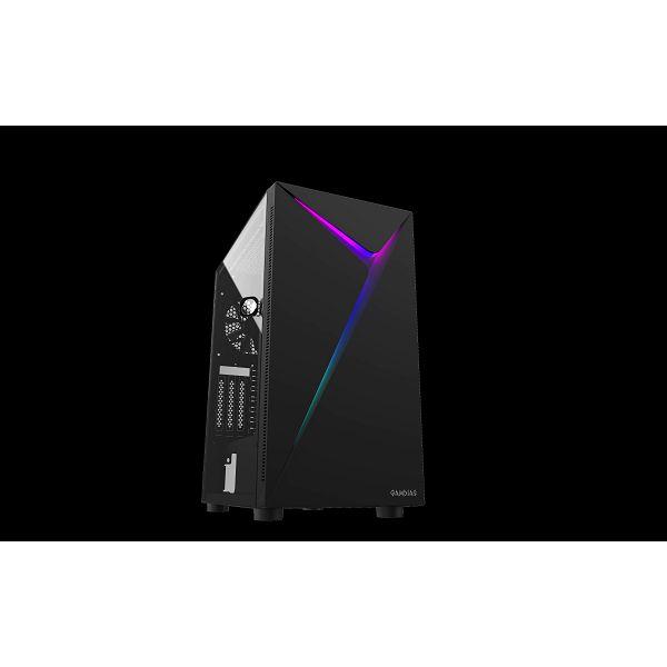Kućište GAMDIAS ARGUS E4 Elite, RGB, window, MIDI, ATX, crno, bez napajanja