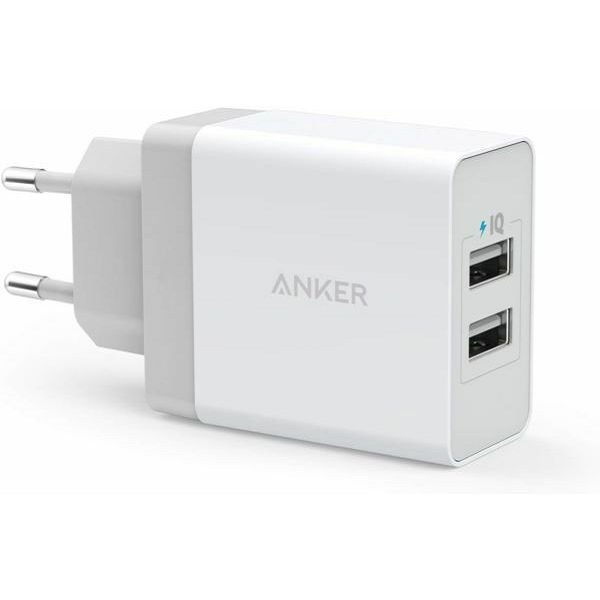 Anker 24W 2-Port USB Charger EU White