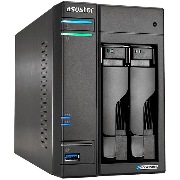 ASUSTOR Lockerstor 2-Bay NAS, Intel Quad-Core, 4GB DDR4 SODIMM , M.2 Slots (2280 NVMe SSD) x2, 2.5 GbE x 2, USB 3.2 Gen 1 x 3, WOW/WOL, AES-NI HW encryption, MyArchive, SSD Caching, Snapshot, 3yrs