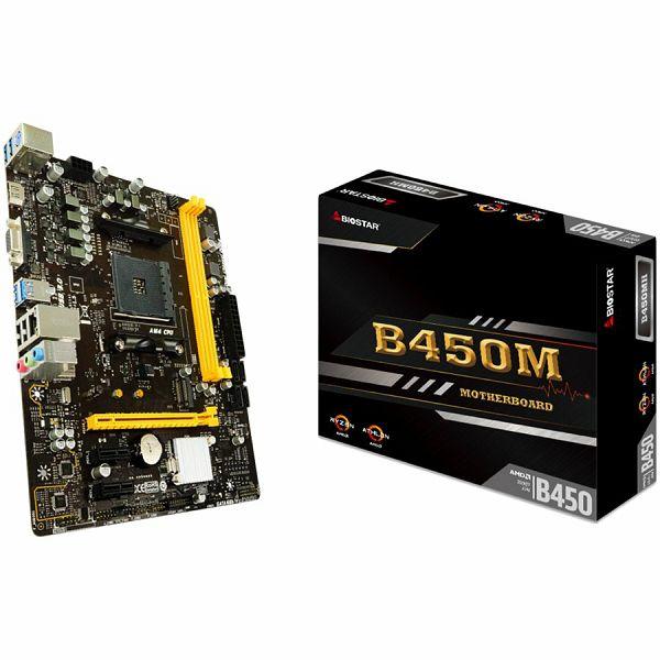 Matična ploča BIOSTAR B450, AM4, 2xDDR4, VGA/HDMI, 1xPCIe x16, 2xPCIe x1, 1xM.2, 4xSATA, GbE LAN, mATX