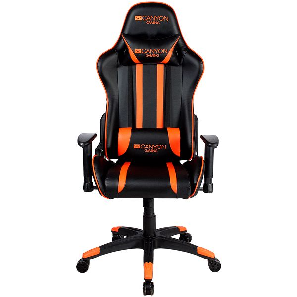 Gaming chair, PU leather, Cold molded foam, Metal Frame,  Butterfly mechanism, 90-150 dgree, 2D armrest, Class 4 gas lift, Nylon 5 Stars Base, 60mm PU caster, black+Orange.