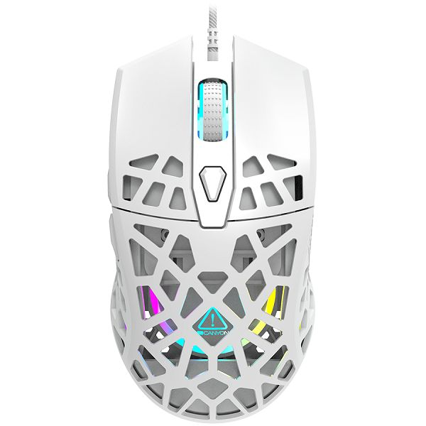 Puncher GM-20 High-end Gaming Mouse with 7 programmable buttons, Pixart 3360 optical sensor, 6 levels of DPI and up to 12000, 10 million times key life, 1.65m Ultraweave cable, Low friction with PTFE