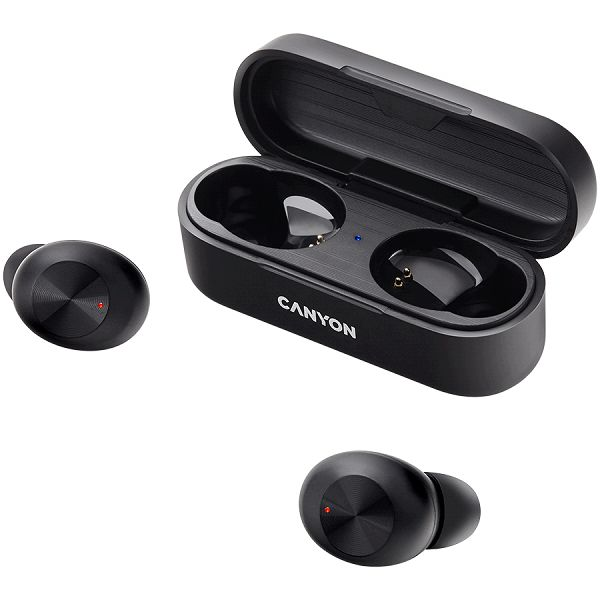 Canyon TWS-1 Bluetooth headset, with microphone, BT V5.0, Bluetrum AB5376A2, battery EarBud 45mAh*2+Charging Case 300mAh, cable length 0.3m, 66*28*24mm, 0.04kg, Black