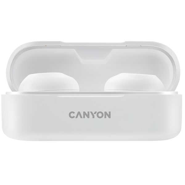 Canyon TWS-1 Bluetooth headset, with microphone, BT V5.0, Bluetrum AB5376A2, battery EarBud 45mAh*2+Charging Case 300mAh, cable length 0.3m, 66*28*24mm, 0.04kg, White
