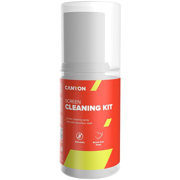 Canyon Cleaning Kit, Screen Cleaning Spray + microfiberSpray for screens and monitors, complete with microfiber cloth. Shrink wrap, 200ml + 18x18 cm microfiber,  55x55x145mm 0.208kg