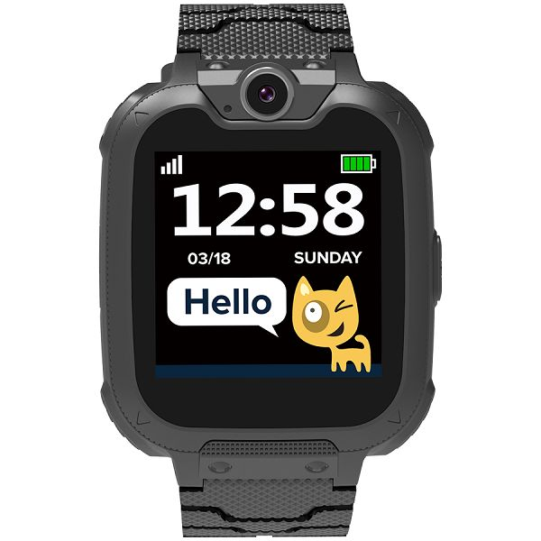 Kids smartwatch, 1.54 inch colorful screen, Camera 0.3MP, Mirco SIM card, 32+32MB, GSM(850/900/1800/1900MHz), 7 games inside, 380mAh battery, compatibility with iOS and android, Black, host: 54*42.6*1