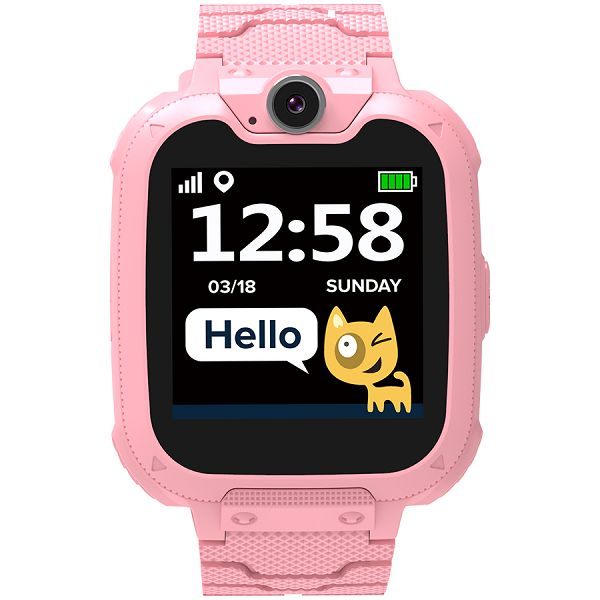 Kids smartwatch, 1.54 inch colorful screen, Camera 0.3MP, Mirco SIM card, 32+32MB, GSM(850/900/1800/1900MHz), 7 games inside, 380mAh battery, compatibility with iOS and android, red, host: 54*42.6*13.