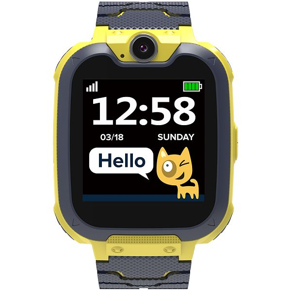 Kids smartwatch, 1.54 inch colorful screen, Camera 0.3MP, Mirco SIM card, 32+32MB, GSM(850/900/1800/1900MHz), 7 games inside, 380mAh battery, compatibility with iOS and android, Yellow, host: 54*42.6*