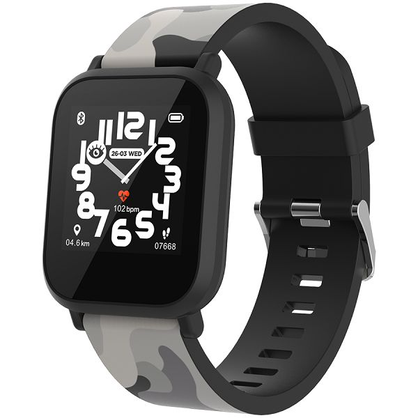 Teenager smart watch, 1.3 inches IPS full touch screen, black plastic body, IP68 waterproof, BT5.0, multi-sport mode, built-in kids game, compatibility with iOS and android, 155mAh battery, Host: D42x