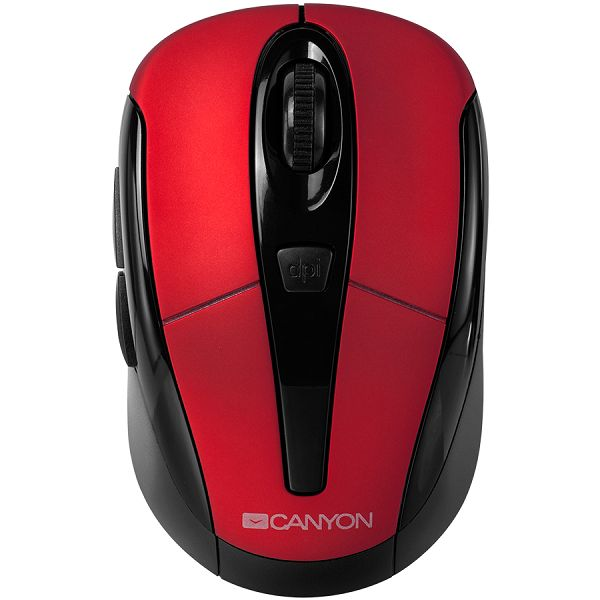 Miš Red color, 3 buttons and 1 scroll wheel with 1000/1200/1600 switchable dpi plus 2 additional up/down direction buttons 2.4GHZ wireless optical