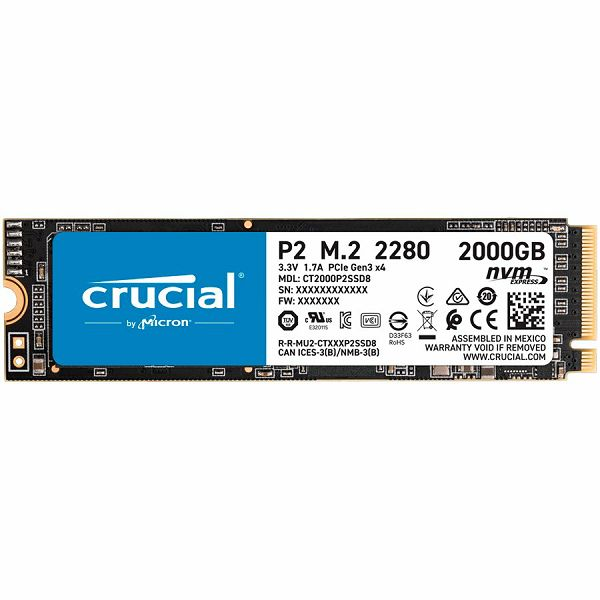 Crucial SSD Crucial P2 2000GB 3D NAND NVMe PCIe M.2 SSD, 2400/1900 MB/s, EAN: 649528902320
