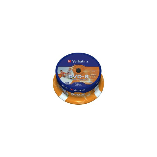 DVD-R Verbatim 4.7GB 16× Wide Photo PRINTABLE 25 pack spindle